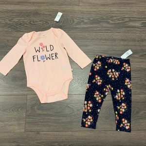 Nwt Baby Gap Wild Flower Outfit, Size 12-18 Months